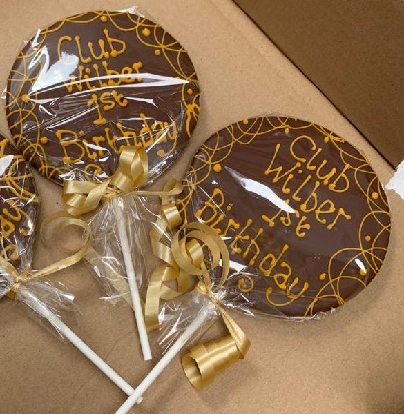 Club Wilber 1st Birthday Chocolate Lollipops