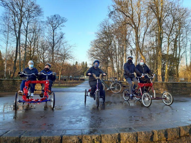 Tenants on bikes in Rowntree park