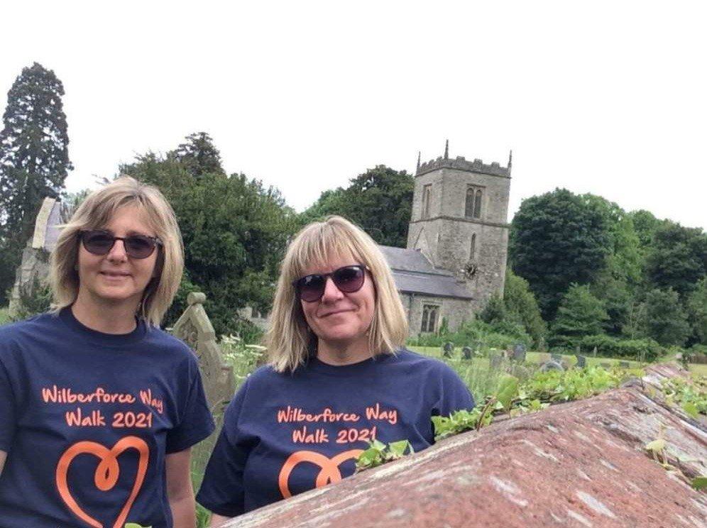 Fiona and Cathy wearing Wilberforce Way Walk tshirts
