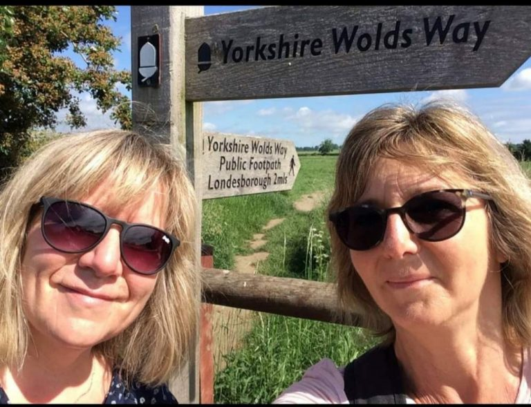 Cathy and Fiona on the Yorkshire Wolds Way
